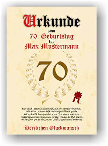 Urkunde zum 70. Geburtstag - Glückwunsch Geschenkurkunde personalisiertes Geschenk mit Name Gedicht und Spruch Karte Präsent Geschenkidee Mann Frau DIN A4