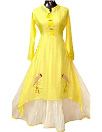 Om Sai Latest Creation Women's Chanderi Cotton Kurtas (yellow)