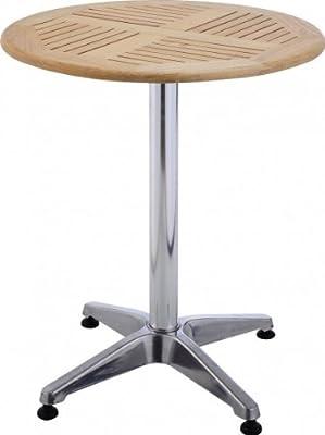 Tisch Bistrotisch rund verstellbare Füße Hartholz Aluminium