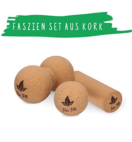 Faszien Fitness Set aus Kork: Duoball + Faszienball + Faszienrolle - inkl. Poster, Übungsheft, E-Book und Tasche - für Faszientraining, Yoga, Pilates - Haut- und umweltfreundlich! (3er Set)