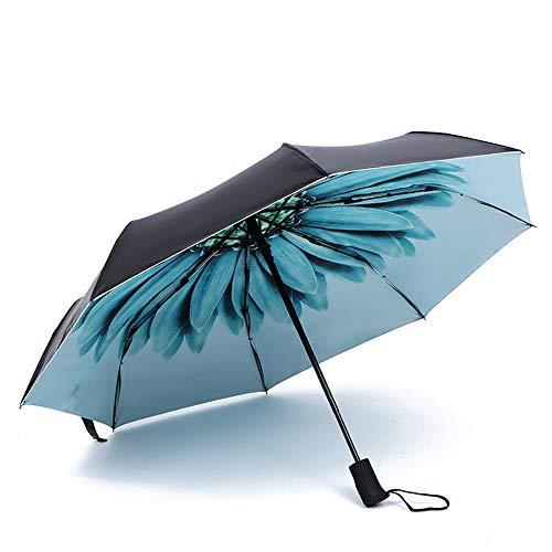 JUNDY Regenschirm, Taschenschirm, Kompakter Falt-Regenschirm, Klein, Leicht, Reiseschirm Sommer schwarz Kunststoff Sonnenschirm 30% colour3 95cm