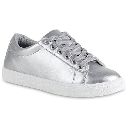 259c25549c9ff Sneakers Low Damen Lack   Glitzer Turnschuhe Freizeit Schuhe Silber Weiss  Brooklyn