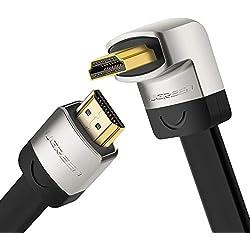 UGREEN Plat Câble HDMI 4K 60Hz Coudé 270 Degrés Cordon HDMI Ultra HD en Aluminium Supporte HDR, Ethernet 18Gbps, 3D, Arc, Compatible avec PS4, PS3, Xbox One, TV, PC (3 m)