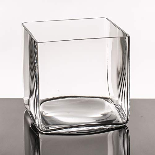 Jarrón Cuadrado Minimalista Transparente Cristal