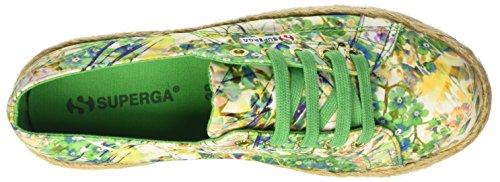 Superga Damen 2790-Fabricfanplropew Niedrige Sneaker Multicolore (Green Spring)