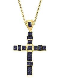 Silvernshine Unisex 9K Yellow Gold FN Blue Sapphire Sim Diamond Micro Pave Cross Pendant Necklace