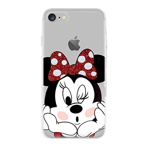 Ip7 / ip8 cover in tpu gel trasparente custodia protettiva, glitter special collection, disney minnie mouse, iphone 7, iphone 8