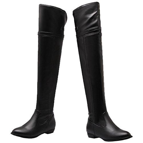 HooH Femmes Sur le genou Bottes Boucle Bottes d'équitation Fermeture éclair Bottes hautes Noir