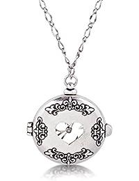 Disney Couture - Collar con reloj de bolsillo de oro blanco de Alicia en el país de las maravillas