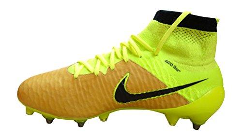 Nike Magista Obra Lthr Sg-Pro, Chaussures de Football Homme Multicolore - Dorado / Amarillo / Negro (Canvas/Black-Volt-Black)