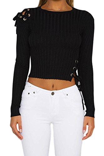 Lettre d'amour Vider Streetstyle Femmes Irrégulier Bandage Oeillet Chemise Taille Crop Top Black