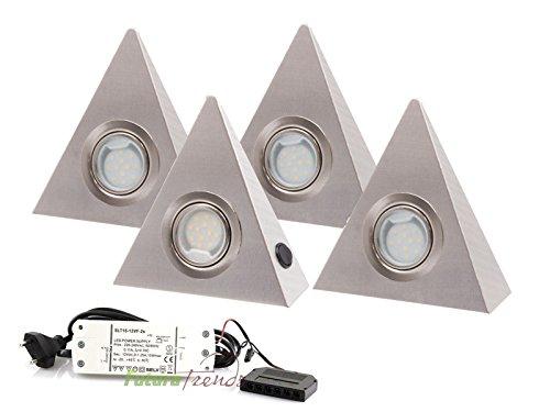 4er Set LED Dreieckleuchte Unterbauleuchte Küchenleuchte EDELSTAHL 2,5W WARMWEISS mit Zentralschalter