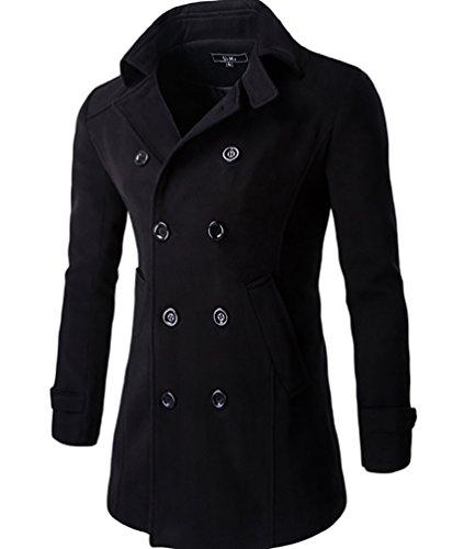 CeRui Männer Erbse Jacke schlank Passform klassischer Stil Jacke Schwarz