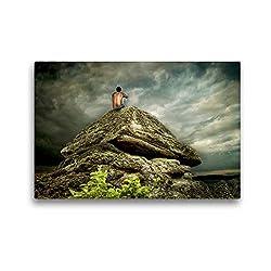 Calvendo Premium Textil-Leinwand 45 cm x 30 cm quer, Bergmeditation | Wandbild, Bild auf Keilrahmen, Fertigbild auf echter Leinwand, Leinwanddruck: In der Stille Glaube Glaube