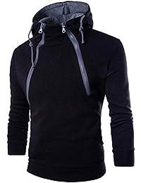zarupeng Hombres de algodón de manga larga Hoodie Plaid Sudadera con capucha Tops chaquetas para hombre