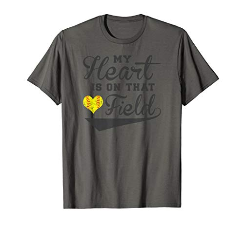 My Heart Is On That Field Fastpitch Softball Mom Graphic T-Shirt -