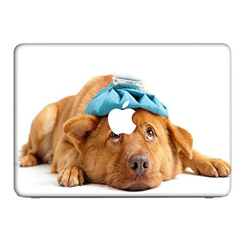 Hunde 10003, Hund in der Hütte, Skin-Aufkleber Folie Sticker Laptop Vinyl Designfolie Decal mit Ledernachbildung Laminat und Farbig Design für Apple MacBook 12