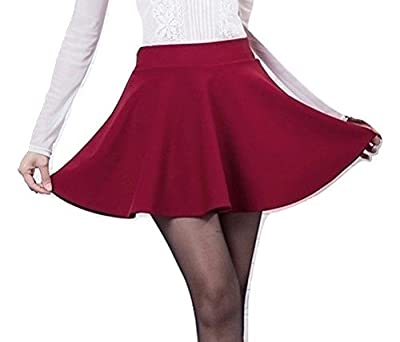 MAGNA Women's Poly Cotton Skater Skirt(MAG11, Red, Small)