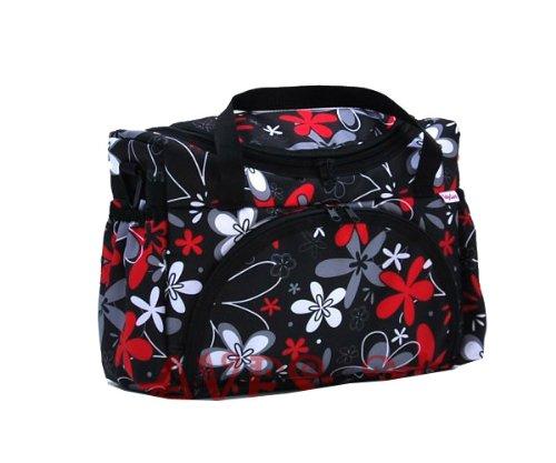 Preisvergleich Produktbild BABYLUX Wickeltasche Kinderwagentasche Schwarz + Rote Flowers #20 mit Wickelunterlage