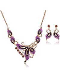 TBOP SET THE BEST OF PLANET Simple And Stylish Jewellery Set Butterfly Necklace Earrings In Purple And Gold Color