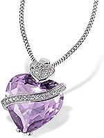 Goldmaid lila Damen-Herzkette 925 Sterlingsilber mit amethystfarbenem violettem Zirkonia Herzanhänger im Brillantschliff