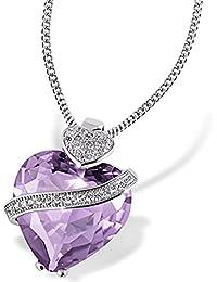 Goldmaid - Collier avec pendentif coeur - Argent 925/1000 - Oxyde de Zirconium Violet - 45 cm