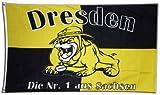 Fahne / Flagge Dresden Bulldogge + gratis Sticker, Flaggenfritze®