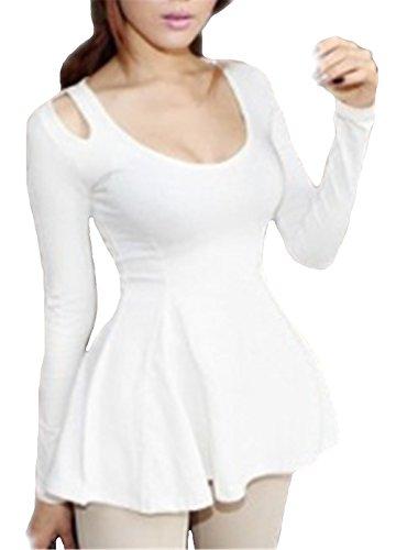 AILIENT Donna Maglietta Manica Lunga Girocollo Allentato Casuale Camicetta T-Shirt Tops Puro Colore Moda White