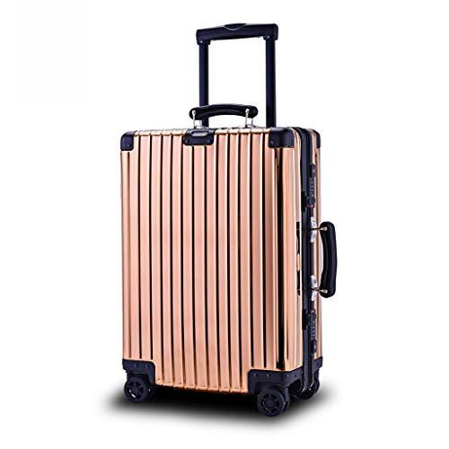 OTLLE High-End-All-Aluminium-Passwortmaschine Koffer 20 Zoll / 25 Zoll / 28 Zoll Trolley für Männer und Frauen Spinner Trolley (Farbe : Gold, größe : 25inch)