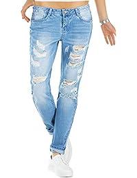 bestyledberlin Relaxed Fit Damen Jeans, Baggy Jeanshosen, Destroyed Style Boyfriend Jeans j60kw-1
