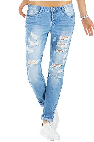 bestyledberlin Relaxed Fit Damen Jeans, Baggy Jeanshosen, Destroyed Style Boyfriend Jeans j60kw-1 42/XL