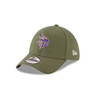 New Era Minnesota Vikings 39thirty Stretch Cap On Field 2018 Salute to Service Green - S-M