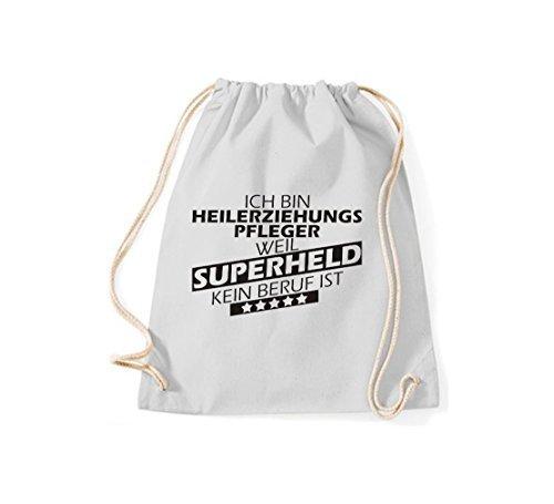Shirtstown Turnbeutel Ich bin Heilerziehungspfleger, weil Superheld kein Beruf ist hellgrau