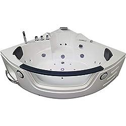 Baignoire balneo Ouest-balnéo baignoire angle 152cm x 152cm x 62cm (1 spot LED 7 couleurs, 22 jets massant, blanche, grande taille) spa jacuzzi grande baignoire à bulle certification TUV allemande