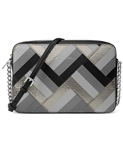 Preisvergleich Produktbild MICHAEL Michael Kors Marquetry Patchwork Jet Set Travel Large East West Crossbody Black