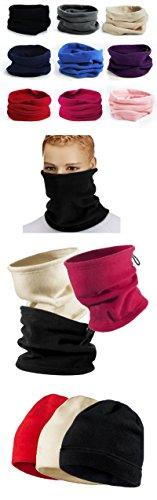 FUNOC Polaire thermique multifonctionnel snood foulard chapeau capuche cache-cou de ski echarpe d'usure purple