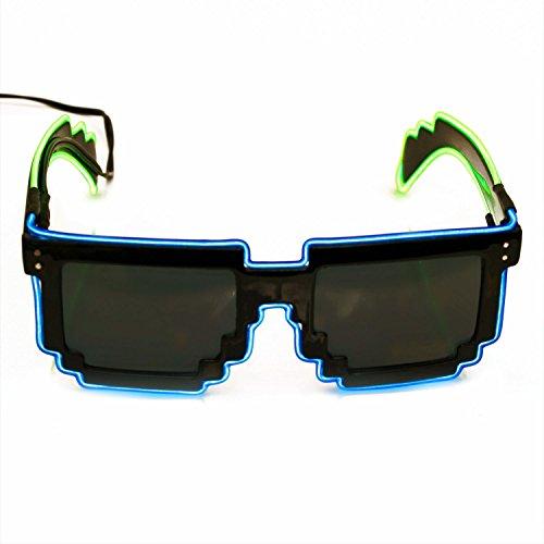 Leuchtende Pixel-Brille, soundsensitive EL-Brille, Pixelbrille, Partybrille, LED Brille, ©Ucult. (Blaue Pixel Sonnenbrille)