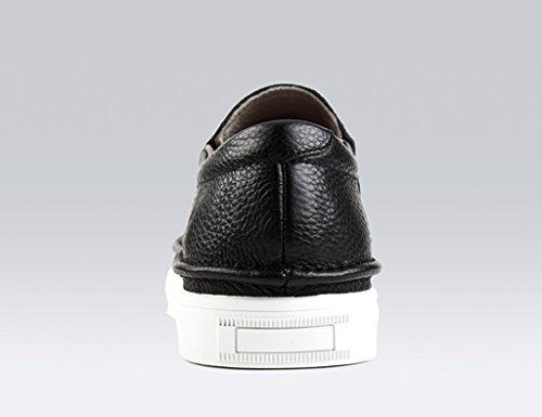 Scarpe Uomo in Pelle Scarpe casual da uomo in pelle primavera estate scarpe con longe in stile casual ( Colore : Bianca , dimensioni : EU40/UK6.5 ) Nero