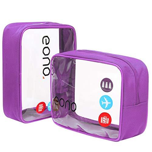 Eono Essentials, beauty case trasparente, borsetta portaoggetti da viaggio, per cosmetici e cura del corpo, unisex, da uomo e donna, impermeabile Viola Due pacchetti