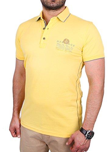 Reslad Polo-Shirt Herren Slim Fit Designer Polo-Hemd Kurzarm-Shirt RS-5201 Gelb