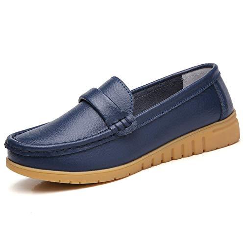 GAXmi Mocasines de Cuero Mujer Loafers Zapato Plano Verano Primavera Otoño Azul Tamaño 41/255, 40...