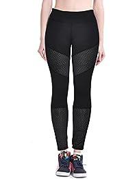 Tongshi Las mujeres hueco Yoga Fitness polainas ejecución tramo gimnasio de deportes pantalones pantalones (Negro, XL)