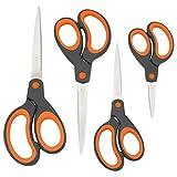 Rapesco Ciseaux Poignée Souple - Lot de 4 tailles (Noir/Orange)
