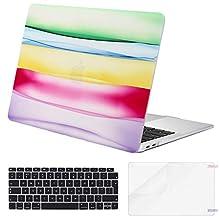 Eono MacBook Case Air 13 Pollici 2018-2020 Release A2179 A1932 con Display Retina,3 in 1 Plastica Custodia&Tastiera Cover&Protezione Schermo Compatibile con MacBook Air 13 con Touch ID, Stripe Rainbow