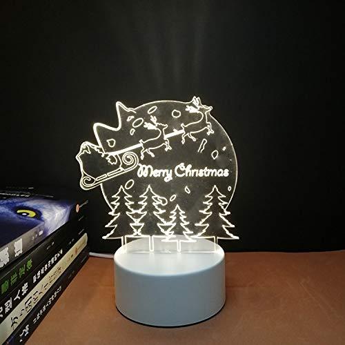3D nachtlicht USB Plug-in Schalter Schlafzimmer Nacht led kleine tischlampe schlafsaal Dekoration kreative Urlaub Geschenk Frohe Weihnachten DREI-Farbe rot blau lila licht (3 watt) -
