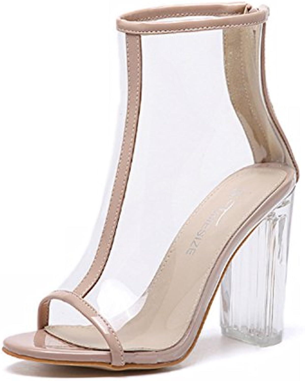 huaishu talon des chaussures à talon huaishu transparent épaisses chaussures sandales cristal de façon occasionnelle bouche de poisson plat pantoufles... cde40e