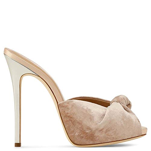 XLY Frauen Bequeme Plattform sexy Knoten Peep Toe Stiletto High Heel Sandalen Kleid Slip on Mules,Flesh,42