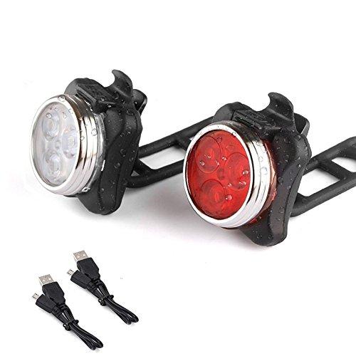 Wiederaufladbare LED Fahrradlampe,ApoGo Wasserdicht LED Frontlicht und Rücklicht Für Fahrrad ,2 USB-Kabel Fahrradbeleuchtung, 4 Licht-Modi LED Fahrradlicht Set