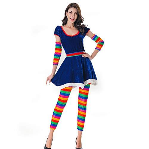 TUWEN Halloween-KostüM KostüM Regenbogen Farbe Candy Clown Zirkus KostüM Prom Party - Candy Clown Kostüm