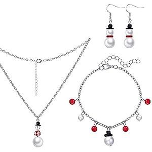 4 Stücke Weihnachten Schneemann Halskette Armband Ohrhänger Set für Frauen Mädchen
